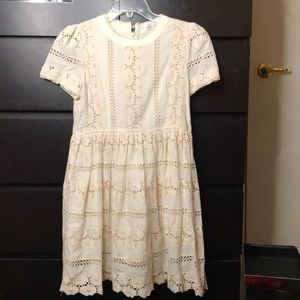 Off white embroidered lace dress